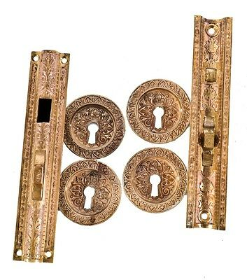 1870's Cast Bronze Residential Pocket Door Escutcheons W/ Matching Mortise Locks