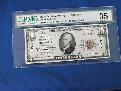 $10 1929 Millville New Jersey National Currency Bank Note CH #1270  PMG 35
