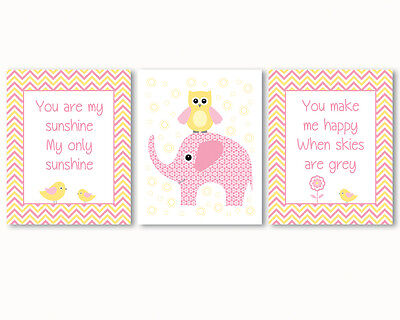 3 prints, art for baby girl nursery - You are my sunshine quote, elephant, owl