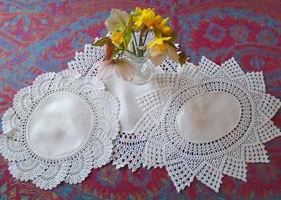 COLLECTION of THREE ANTIQUE BEAUTIFUL WHITE LINEN & CROCHET LACE MATS~D'OYLEYS