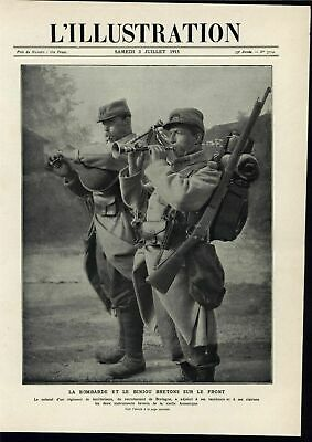 Musicians Western Front British Bagpipes 1915 World War I vintage historic print