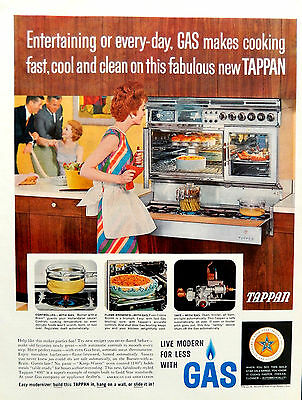 Vintage 1962 Tappan gas range kitchen advertisement print ad
