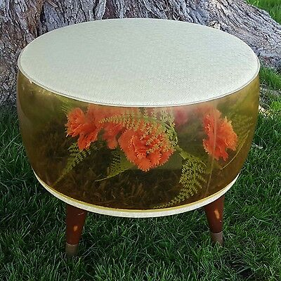 Retro Vintage Inflatable Ottoman with Carnations