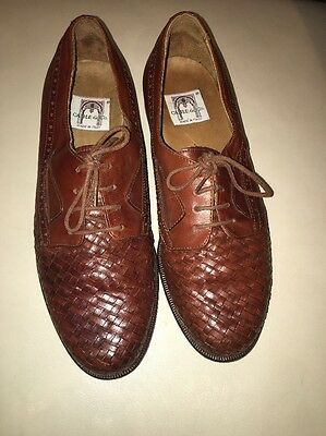CABLE & CO Men Brown Leather Woven Oxfords SHoes Sz 7 M Made Italy