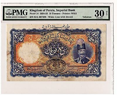 1924-32 Iran kingdom of Persia,Imperial bank,10 Tomans PMG 30 VF , P#: 14