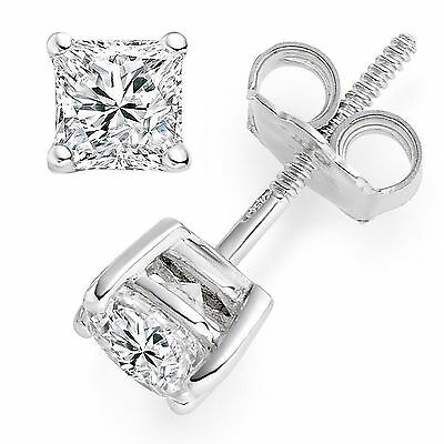 1 ct Princess Cut Solitaire Stud Earrings Solid 14k Real White Gold Screw Back