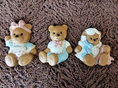 Burwood vintage 1994 Set of 3 Baby Bears Nursery Wall hanging decor Made in USA