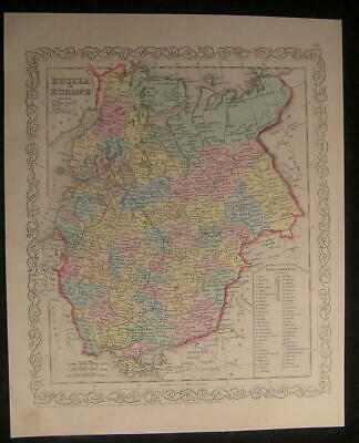 Russia in Europe Lake Ladoga Gulf Finland 1856 antique hand color lithograph map
