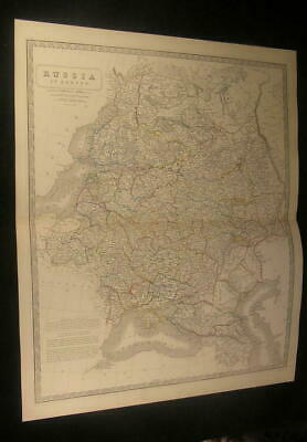 Russia in Europe Ural Mountains Crimea Finland c.1870 antique engraved color map