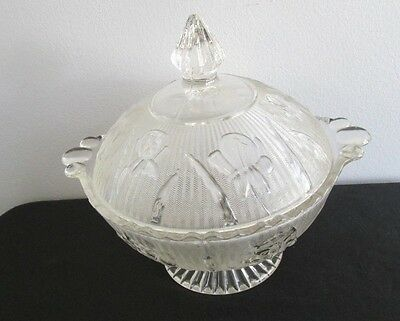 "Vintage Depression Glass JEANNETTE ""Iris & Herringbone"" Covered Candy Dish"