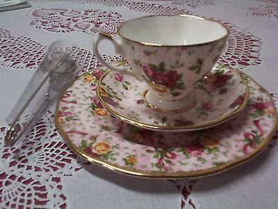Royal Albert Pink Lace cup, saucer and display plate