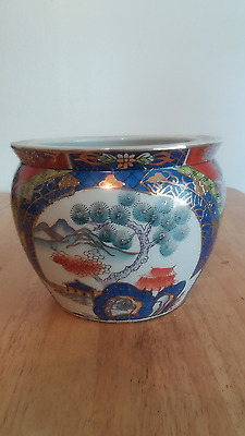 Vintage Japanese Imari Vase Bowl Gold Decorated Beautiful