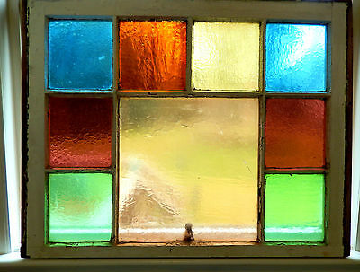 Antique Stained glass color block window original wood frame 1870 's