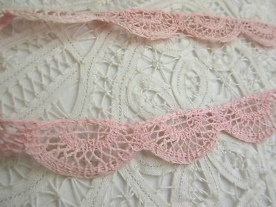 "Antique/VTG Pink Crochet Lace Trim Cotton 1""Wide By the Yard for Pillow,Crafts"