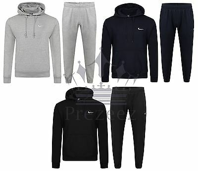 NIKE CLUB Mens Full Tracksuit Fleece Jogging Bottoms Hooded Top Size S M L XL