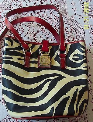 Dooney & Bourke Zebra Print Small Tote Shoulder Bag Bucket Hand Purse