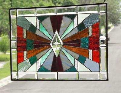 "°LIGHT SHOW °Beveled Stained Glass Window Panel • 28 1/2"" x18 1/2""-(73x48cm.)"