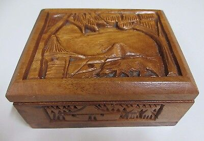 Vintage Handmade Carved Decorative Wooden Jewellery Box - Philippines - 1970s