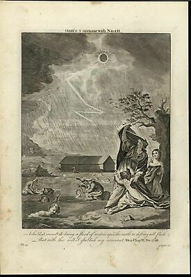 Deluge Noah Flood Humanity Drowning c.1750 antique copper engraved Bible print