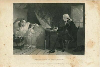 George Washington assisting young family in need ca. 1850's fine antique print