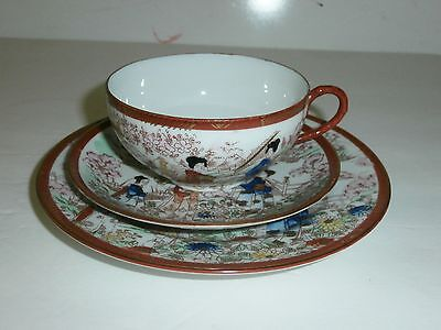 Antique Japanese Porcelain Hand Painted Tea Cup and Saucer and Plate