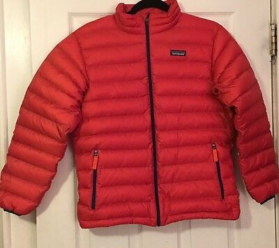 Boy's PATAGONIA Orange Puffer Down Sweater Jacket Size Large 12 MINT Condition