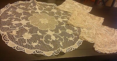 Antique Italian lace Point De Venise tablecloth set of 5 NOS