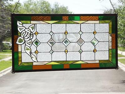 "-WELCOME HOME-Huge Beveled Stained Glass Window Panel • 36 ½""-18"" (92-46Cm)"