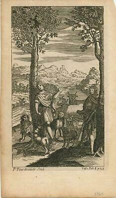 Shepherd boys with oxen and sheep fine 18th Century antique print