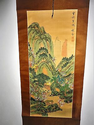 RARE! Antique Chinese Scroll Painting on Silk? Landscape SIGNED