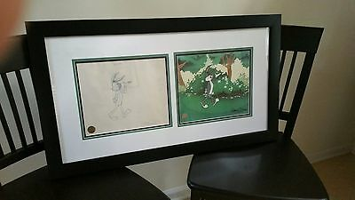 Chuck Jones Original Animation Drawing Framed w/ Limited edition Animation Cell