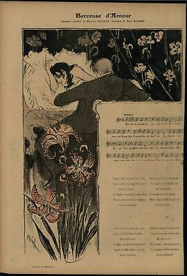 Lullaby of Love Beautiful Flowers 1895 vintage Steinlen color lithograph print
