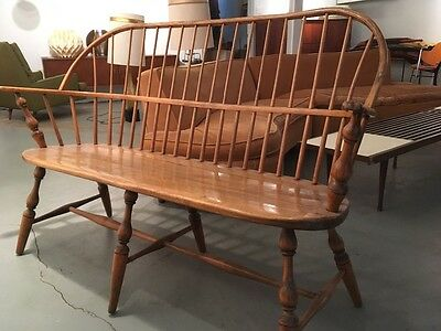 18th C. American Antique Sack Back Windsor Bench with Carved Arms
