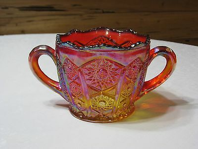 Vintage Indiana Red Sunset Paneled Daisy Carnival Glass Spooner w/Sawtooth Edge