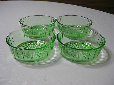Set of 3 Vaseline Glass Small Berry/Fruit Bowls