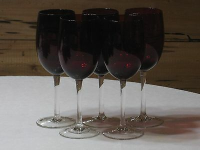 Set of 5 Vintage Ruby Red Footed 12 Oz. Goblets with Clear Stem & Base   MINT