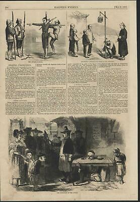 Chinese Punishment Child Shown Fathers Head 1857 antique wood engraved print