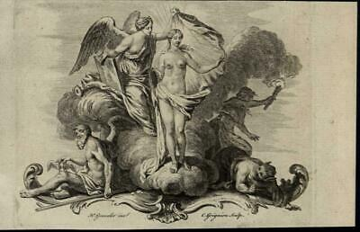 Nude Woman Beauty Angel Torch Smoke Demon 1751 scarce old antique engraved print
