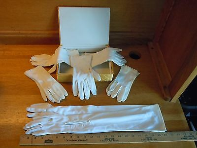 Six Pairs Vintage Gloves And  Satin Quilted Glove Box