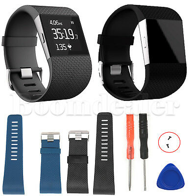 TPU Replacement Band Strap Wristband W/ Tools Buckle for Fitbit Surge Tracker