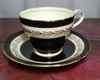 Aynsley black white gold china tea cup set
