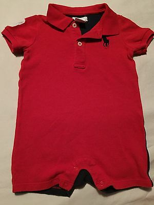 Ralph Lauren Boys Romper Size 9 Months Outfit Red Blue