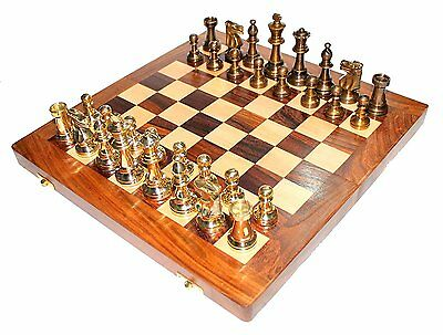 """BRASS CHESS STAUNTON PIECES SET  WITH 14"""" FOLDING WOODEN(rosewood) CHESS BOARD G"""