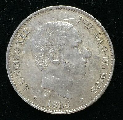 1885 Alfonso 50 centavos Spain-Philippines Silver Coin - lot 5
