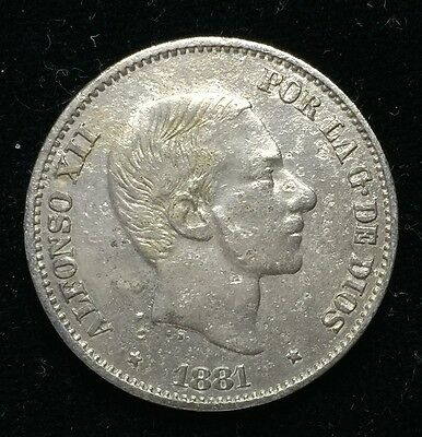 1881 Alfonso 50 centavos Spain-Philippines Silver Coin - lot 1