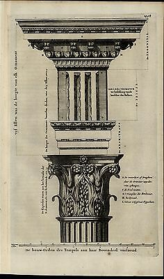 Temple Design Constructions Column Ornate Architecture rare 1700 antique print