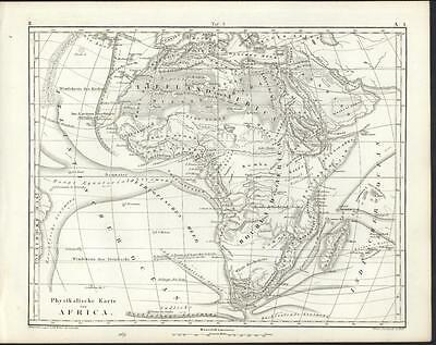 Africa physical map showing Mountain of the Moon 1851 antique engraved map