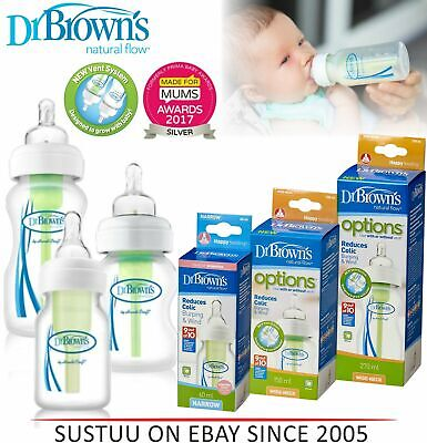 Dr Brown's Natural Flow Anti Colic Narrow/Wide Neck 60/150/270ml Feeding Bottle