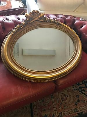 Antique Heavily Carved ( Crossed Swords) Gilt Framed Wall Mirror H74 X W90  Cm
