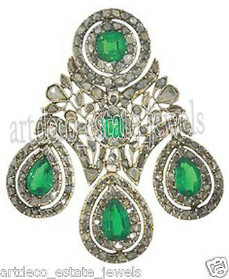 9.70cts ROSE CUT ROUND DIAMOND EMERALD .925 STERLING SILVER BROOCH PIN
